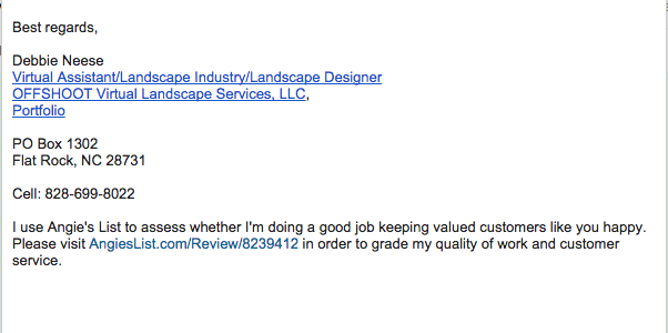Email signature with Link for Reviews