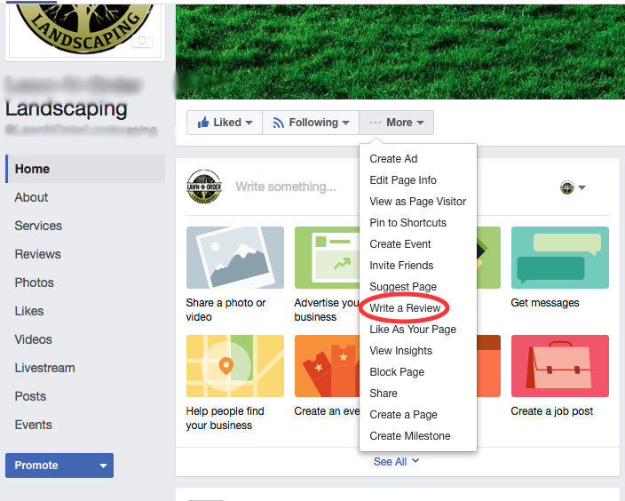 Facebook business reviews-virtual assistant for landscapers