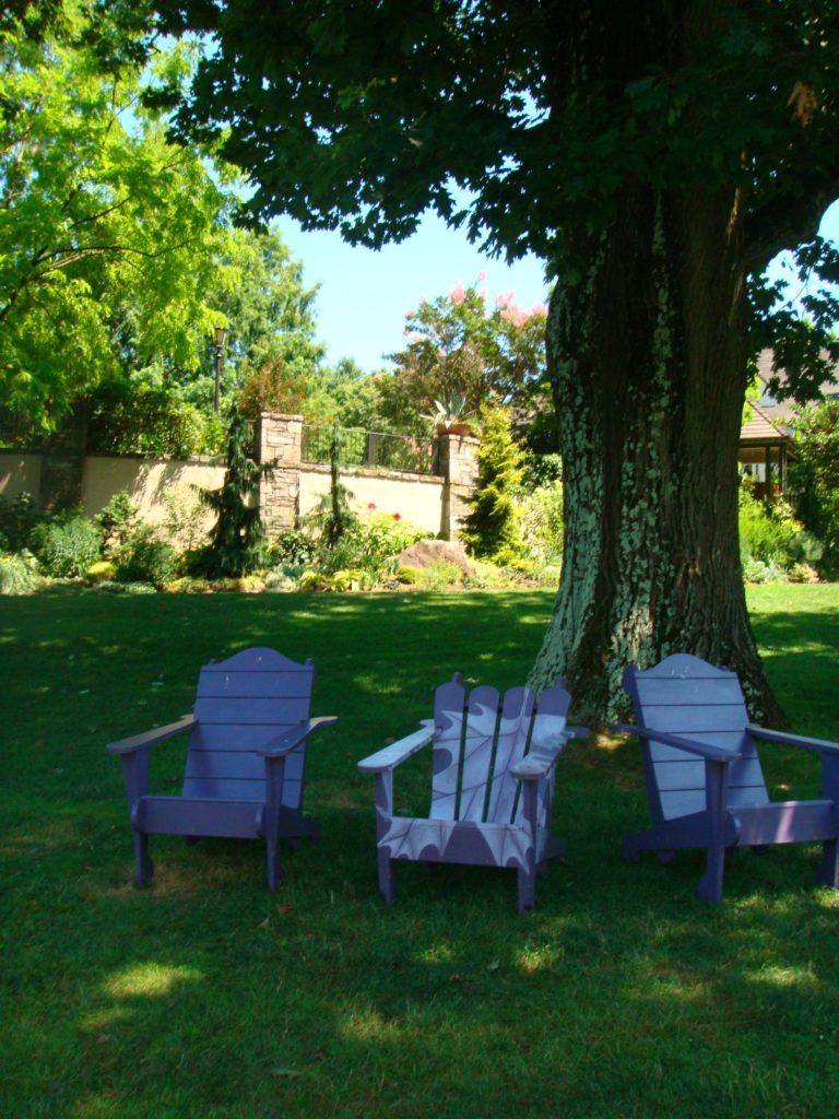 art in the garden-purple chairs-garden seating